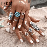 17KM 9Pcs/ Fashion Blue Stone Bohemian Ring Set Vintage Steampunk Cross flower Anillos Ring Knuckle Rings for Women  Jewelry