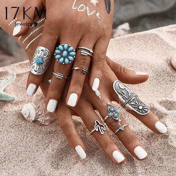 17KM 9Pcs/ Fashion Blue Stone Bohemian Ring Set Vintage Steampunk Cross flower Anillos Ring Knuckle Rings for Women New Jewelry