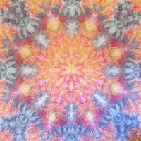 Giant mandala tie dye tapestry or wall hanging in yellow, red, orange and grey. Over 7' square