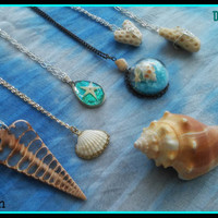 The, Mermaid, Collection, Boho, Grunge, gypsy, Hippie, Charm, Choker, Chain, Necklaces, necklace, layering, pendant, seashell, shell, coral