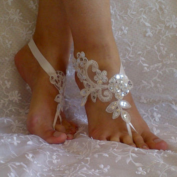 Lace ivory barefoot silver sequins finished barefoot sandals shoe  elegant beach wedding  Handmade bridal bridesmaid party jubilee prom