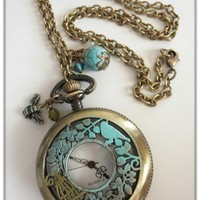 Antique Brass Patina Watch Pendant Necklace