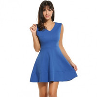 Women V-Neck Sleeveless Solid Fit And Flare Cocktail Party Pleated Skater Dress