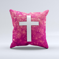 Vector White Cross over Unfocused Pink Glimmer  Ink-Fuzed Decorative Throw Pillow