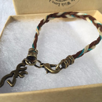 Horse Hair Bracelet with Brass Browning Symbol Charm and Turquoise Accent Thread