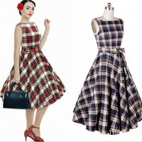 New Design Womens Vintage Audrey Hepburn Swing Dress 50s Rockabilly Party Dress Boat Neck#65 = 1946809988