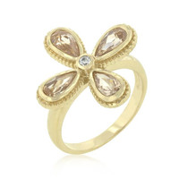Champagne And Clear Floral Ring, size : 09