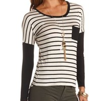 Color Block Striped Long Sleeve Top by Charlotte Russe - Black Combo