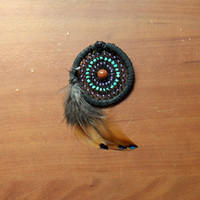 Heady Dream Catcher Hat Pin with Goldstone