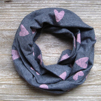 Kids Heart Scarf Childs Scarf Toddler Scarf Kids Valentines Day Scarf Grey Baby Bib Scarf Pink Hearts Childs Infinity Scarf Ready to Ship