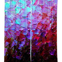 MERMAID SCALES Fine Art Window Curtains Multiple Sizes Abstract Deep Purple Plum Blue Ombre Decor Bedroom Kitchen Lined Unlined Woven Fabric