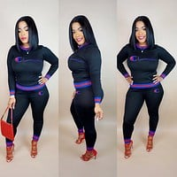 Champion Popular Women Casual Print Stripe Long Sleeve Top Pants Set Two-Piece Sportswear Black