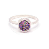 Peacock Druzy Quartz Ring - Sterling Silver - Bezel Set - Round Druzy / Drusy Quartz - Available in sizes 5, 5.5, 6, 6.5, 7, 7.5 and 8