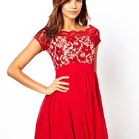 Elise Ryan Lace Skater Dress with Off Shoulder