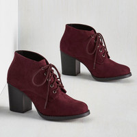 Minimal Take a Prance on Me Bootie in Burgundy