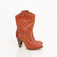 70s Cognac Brown Distressed Leather Cowboy Boots / Western Embroidered Stitched Brazilian Wooden Heels Size 9.5 EU 40 UK 7.5