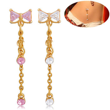 New Charming Dangle Crystal Navel Belly Ring Bling Barbell Button Ring Piercing Body Jewelry = 4661635076