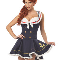 Pinup Halloween Costumes 2012 - 2 PC. Nautical Doll Sailor Girl Costume (Incl. Dress with Attached Collar & Sailor Hat)