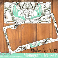 Mint White Camo Antlers Monogram License Plate Frame Holder Deer Metal Snow Tags Personalized Custom Hunting Vanity Tree Camo Country