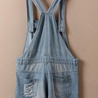 Womens Overall Shorts - Cross-Over / Cuffed Edge