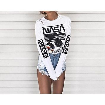White Alphabet Print Long Sleeve Ladies Tops T-shirts [11980274127]