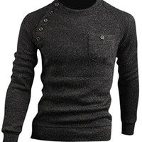 jeansian Men's Slim Fit Long Sleeves Casual Shirts Pullover Sweater 8826