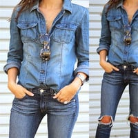Women Casual Long Sleeve Shirts Blue Jean Denim Blouses