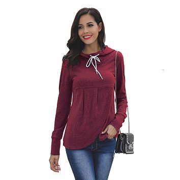 Casual Solid Color Drawstring Pattern Long-sleeve Hoodies