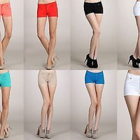 Casual Mint Colors Short Stretch Skinny Jean Low Rise Shorts