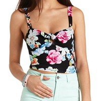 KNOTTED FLORAL PRINT CROP TOP