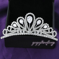 Mytys White Color Clear Crystal Tiara Crown for Women Wedding Ceremony Party  Birthday Hair Jewelry C2