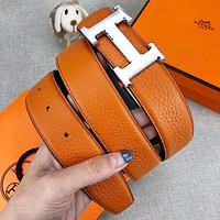 Hermes Classic Fashionable H Letter Smooth Buckle Belt Leather Belt