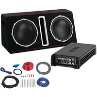 """Boss 12"""" Passive Loaded Enclosure With Amp & Amp Wiring Kit Party Pack (dual 1600 Watts)"""