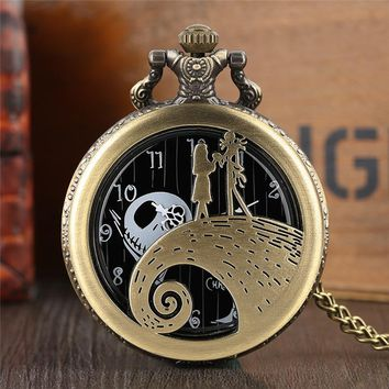 Jack Sally The Nightmare Before Christmas 2017 New Gifts for Children Women Men Kid Vintage Quartz Pocket Watch Necklace Pendant