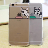 Alaska Samoyeds Husky Schnauzer Labrador Case Cover For Apple iPhone 6 6s 6G Plus 5.5'' Case Cartoon Dog Cute Case Funda Capa