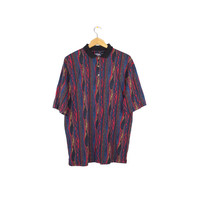 90s coogi style print polo shirt / vintage 1990s / medium