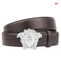Versace Fashion New Diamond Human Head Buckle Leather Leisure Women Men Belt 4#