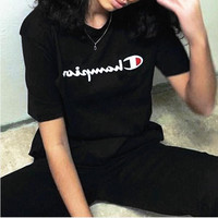 Champion Hot Sale Embroidery (4-color) Tee shirt top Black