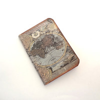 Mini World Map Notebook - Tiny Travel Journal - Vintage Style Map Jotter - Recycled Adventure Travel Diary