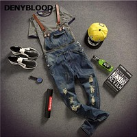 Mens Distressed Jeans Ripped Jumpsuit Denim Overalls Men Baggy Cargo Pants with Suspenders Denim Bib Overalls For Men K121