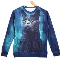 Kitty Cat Face Universe Space Graphic Print Pullover Sweater in Blue | Gifts for Cat Lovers