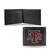 Texas A&M Aggies Wallet Premium Black LEATHER BillFold Embroidered University of