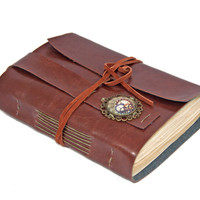 Light Brown Faux Leather Journal with Tea Stained Paper and Steampunk Bookmark - Ready to Ship -