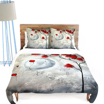 Gray & Red Far Side of the Moon Duvet Cover