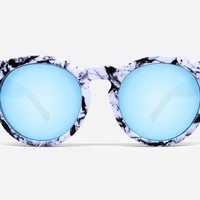 Quay High Emotion White Marble / Blue Sunglasses