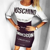 Moschino Tide brand women's stitching print bag hip mini dress