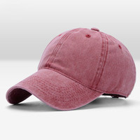 Wine Red Wash Canvas Ventilation Baseball Cap Women Men Hat
