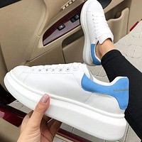 Alexander McQueen Fashion New Velvet Tail Sports Running Shoes Sky Blue