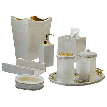 Audrey Bath Accessories w. Gold Trim by Mike + Ally