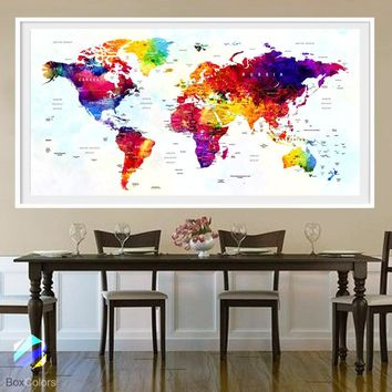 XL Poster Push Pin World Map travel Art Print Photo Paper Watercolor Full color Wall Decor Home (frame is not included) FREE Shipping USA!